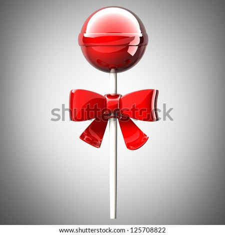 Sweet lollipop and red bow. High resolution 3d render