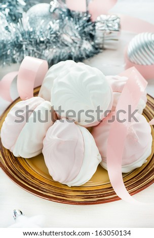 Sweet marshmallows with festive decoration, selective focus