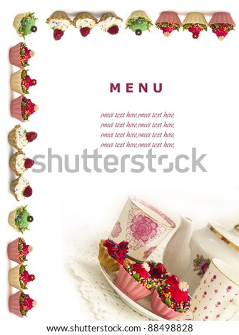 sweet menu for the restarurants