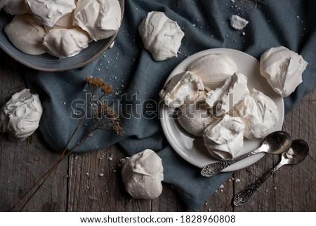 Sweet meringue, delicious and light dessert ストックフォト ©