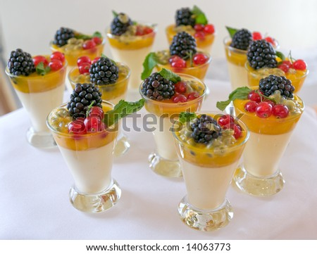 Sweet milk and berry desserts