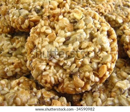 Sweet Oatmeal Cookies With Crunchy Toasted Sunflower Seeds Stock Photo ...