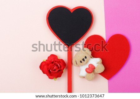 Sweet of marshmallow with red heart on pink paper background, Valentine's day concept. #1012373647