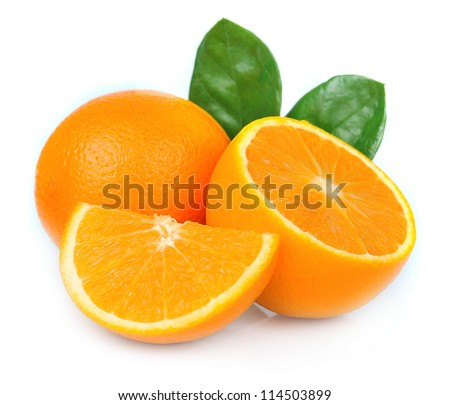 Sweet orange fruit with leaves on white