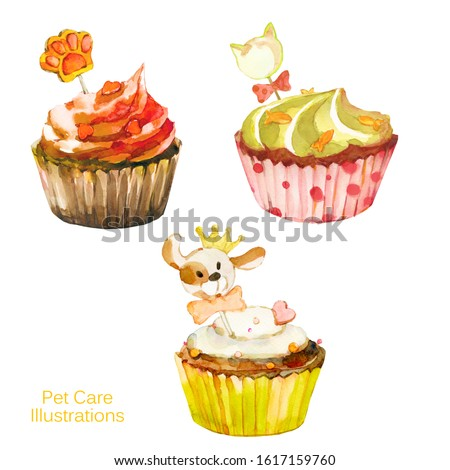 Sweet painting. Set of watercolor cupcakes for pets. Pet care. Dog cakes, cat cakes, gift for pet.