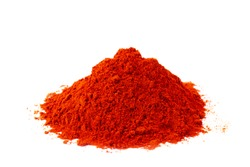 Sweet paprika powder in white natural spice