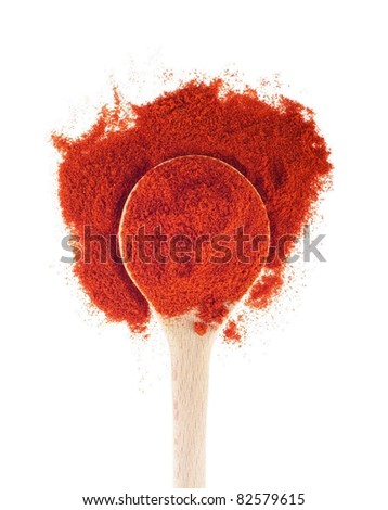 sweet paprika spice on a wooden spoon, isolated on white background