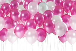 Sweet pastel tone balloons isolate on white background with clipping path