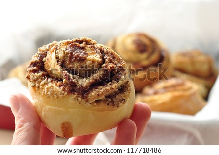 Sweet pastry rolls with raisins and nuts