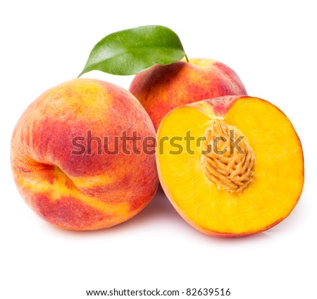 sweet peach with leaf isolated on white