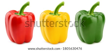 sweet pepper, red, green, yellow paprika, isolated on white background, clipping path, full depth of field Stockfoto ©