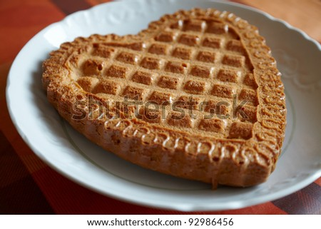 sweet pie on the plate - stock photo