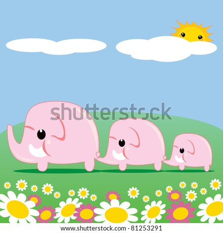 Sweet pink elephant family walking through grass and flower meadow