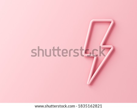 Sweet pink lightning or thunder isolated on pink pastel color wall background with shadow 3D rendering
