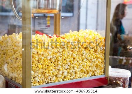 Sweet popcorn shop close up view