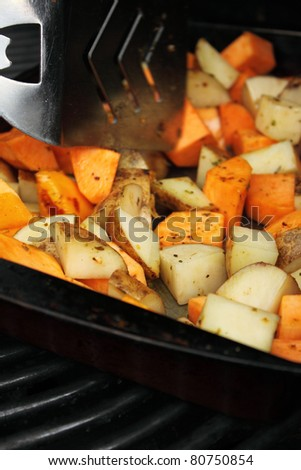 Sweet potato and red potato barbecue roast
