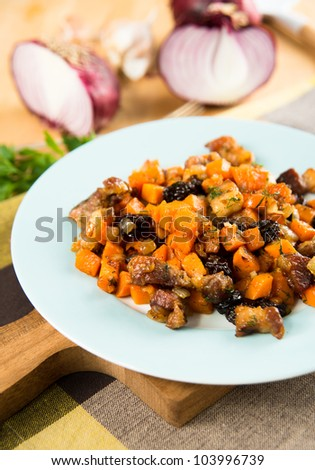 Sweet Potato Hash with Pork Belly and Raisins