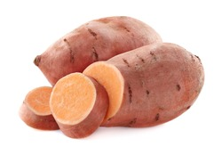 Sweet potato in closeup on a white background