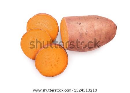 Sweet potato isolated on white background closeup. Top view. Flat lay. Stock photo ©