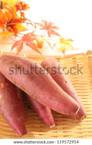 Sweet potato on bamboo basket from Japanese for autumn vegetable image