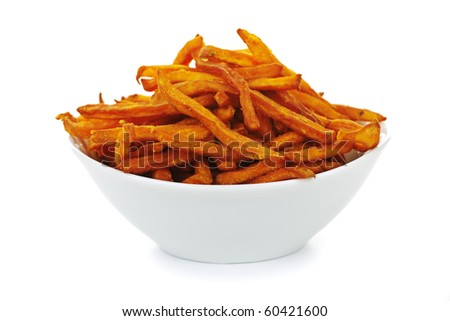 Sweet potato or yam fries in a bowl isolated on white background