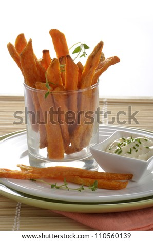 Sweet potato or yam fries in vertical format