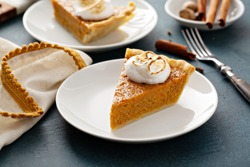 Sweet potato pie slice with toasted marshmallow topping