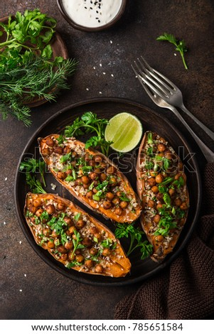 sweet potato stuffed with chickpeas and quinoa. Top view.