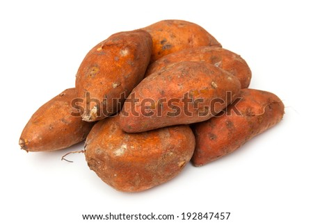 Sweet Potatoes isolated on a white studio background.