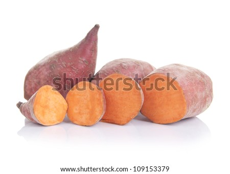 Sweet potatoes ( lat. Ipomoea batatas ), isolated on white background