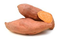 Sweet potatoes on white background