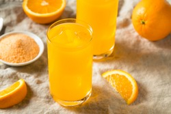 Sweet Refreshing Powdered Orange Drink in a Glass