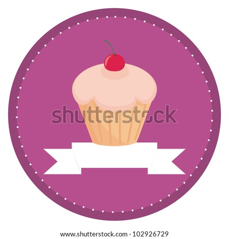 Sweet retro cupcake with cherry on top and violet background with ...
