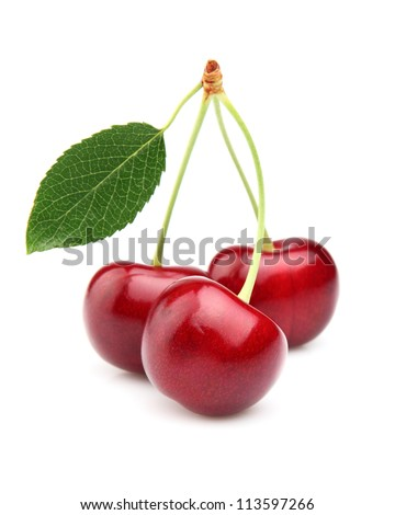 Sweet ripe cherry with leaf
