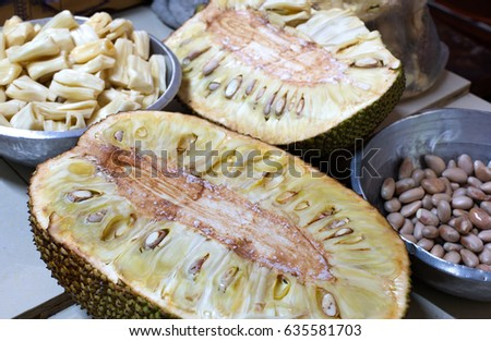 Sweet ripe jackfruit white texture on the table in the kitchen / Selective focus