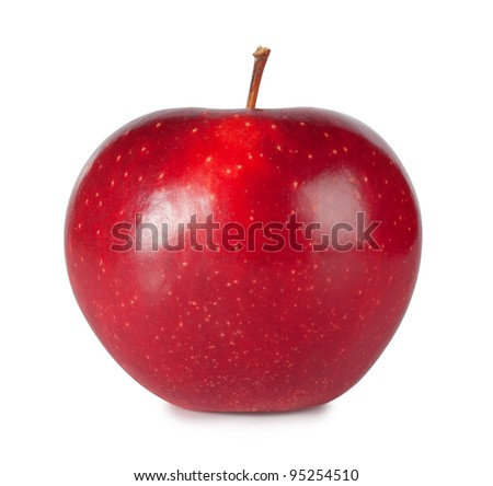 Sweet ripe red apple isolated on white background
