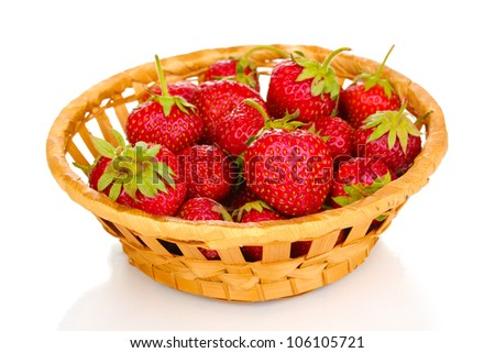 Sweet ripe strawberries in basket isolated on white