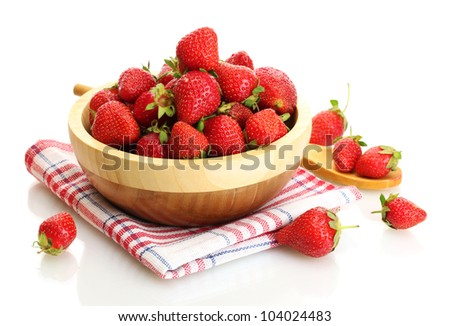 sweet ripe strawberries in wooden bowl isolated on white