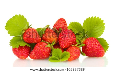 sweet ripe strawberries with leaves isolated on white - stock photo