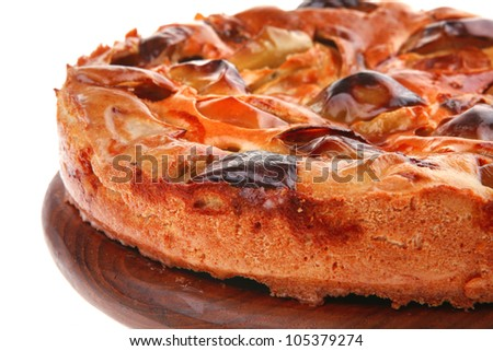 sweet round apple pie isolated on white background