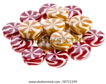 Sweet round colorful striped caramel candy