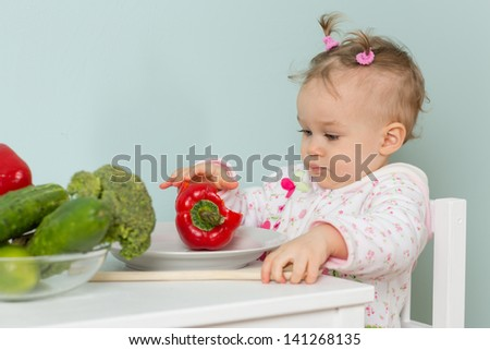 Sweet small child sits on a chair at the dining table with fresh vegetables in the home kitchen.