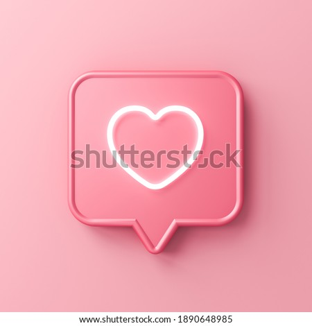 Sweet social media notification neon love like heart icon in pink speech bubble pin isolated on pink pastel color background with shadow minimal conceptual 3D rendering