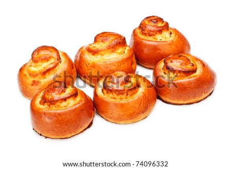 sweet spiral buns isolated on white background