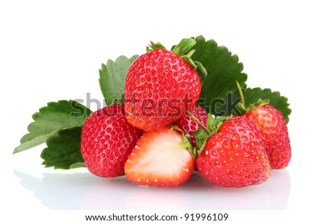 sweet strawberries with leaves isolated on white