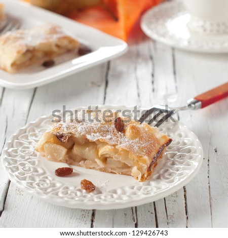 Sweet strudel with pear, square image