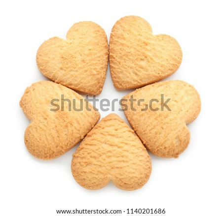 Sweet tasty cookies on white background #1140201686