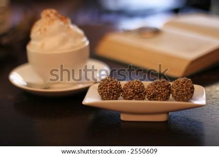 sweet temptation of chocolate truffles, selective focus on truffles