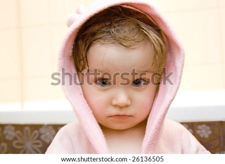 sweet toddler baby girl in bath