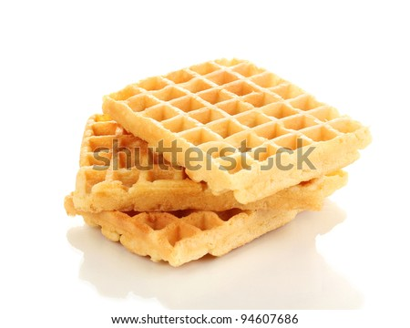 Sweet waffles isolated on white